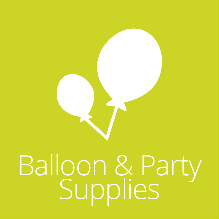 Balloon & Party Supplies Icon - Two white balloons inside a solid green square